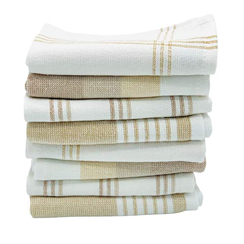 The Accented Co. Dish Cloths, Set of 8 - Absorbent, Fast Drying Dish Towels - Turkish Cotton with Hanging Loop (12x12 inches)(Beige Tan Brown)