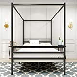 Metal Canopy Bed Frame 4 Post Cozy Canopy Platform Bed Frame No Box Spring Needed Sturdy Metal Mattress Support with Headboard and Footboard Full
