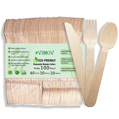 VIMOV 100 Piezas Cubertería desechable de Madera, ecológica, Biodegradable, para Fiestas, Camping, picnics, Barbacoa, Evento (40 Tenedores, 30 Cuchillos, 30 cucharas)