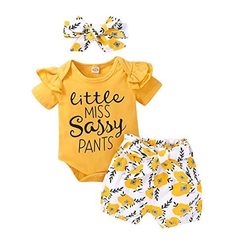 DaMohony Kleinkind Baby Mädchen Baumwolle Kleidung Set Strampler + Floral kurze Hose + Stirnband Gr. 56, gelb