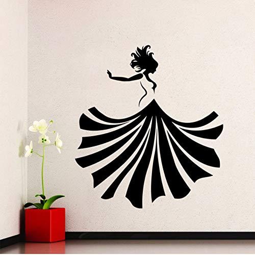 Cmhai Vinyl Sticker Meisje Dansende Jurk Muursticker Mode Meisje Dans Thuis Muur Kunst Muurschildering Schoonheid Ontwerp Decoratie Maat 42 * 46Cm