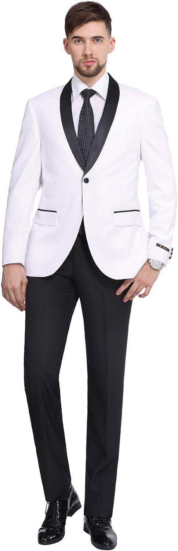 P&L Men's Suit 2-Piece Prom Party Wedding Tuxedo Blazer Jacket & Flat Front Pants