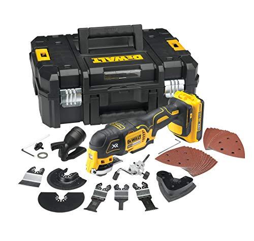 DeWalt Multi-Tool/ Multifunktionswerkzeug (18 Volt, 2,0 Ah Akku, bürstenlos, LED-Arbeitslampe, Airlock-System, inkl. 35-teiliges Zubehör-Set, 2 Akkus, Schnell-Ladegerät und TSTAK Box II) DCS355D2
