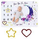 Manta Mensual De Hito Para Bebé,DIAOCARE bebe manta mensual hito 100 x 150 cm para recién nacidos, manta de meses para bebé, seguimiento de la edad y el crecimiento, regalo Watch Me Grow Baby