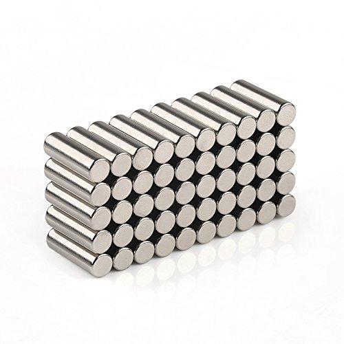50 Pezzi Calamite Magneti Neodimio N35 Rotondo Cilindro Magnete Cilindriche Acciaio INOX Uso In Cucina,Ufficio,Officina,Per Il Modellismo,I Montaggi,La Bacheca,E Molto Altro Ancora (5*16mm)
