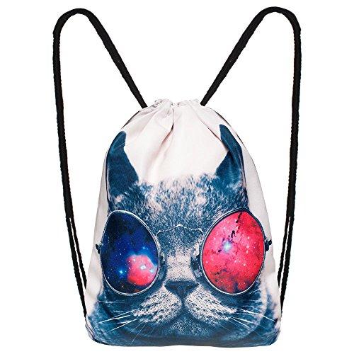 Hanessa Jutebeutel mit Space Cat Tier Aufdruck Sportbeutel Tüte Rucksack Beutel Tasche Gym Bag Gymsack Hipster Fashion Sport-Tasche Einkaufs-Tasche Weiß