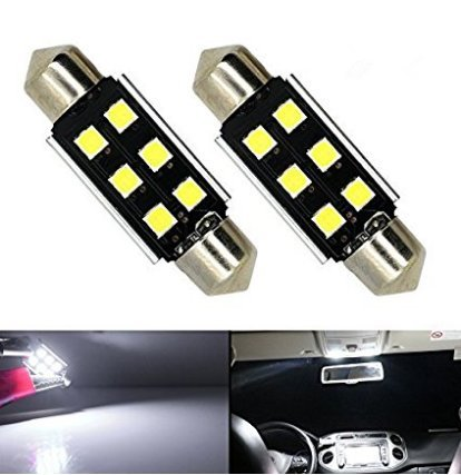 LED Car Interior Reading Lighting License Plate Dome Lights Bulbs with Canbus Error Free 6-3030 SMD Chipsets Xenon White 6000K,Pack of 2 (36 mm)