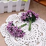 Flores Artificiales De Plástico, 288 Piezas Guirnaldas De Bricolaje Flores Nupciales Aros Para El Cabello Materiales Flores Falsas Con Cuentas De Hojas Flores Artificiales Artesanales Flores-Púrpura