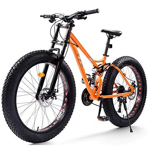 NENGGE Bicicleta Montaña con Doble Suspensión 26 Pulgadas para Adulto Hombre Mujer, Neumático Gordo Freno Disco Bicicleta BTT, Marco de Acero de Alto Carbono Ciclismo MTB,Naranja,21 Speed