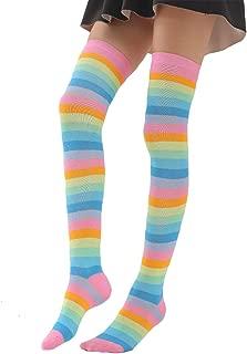 Girls Women Long Striped Colorful Rainbow Costume Over Knee High Socks Stockings
