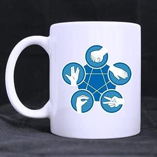 Best Funny Novelty Rock Paper Scissors Lizard Spock Theme Coffee Mug or Tea Cup,Ceramic Material Mugs,White - 11oz