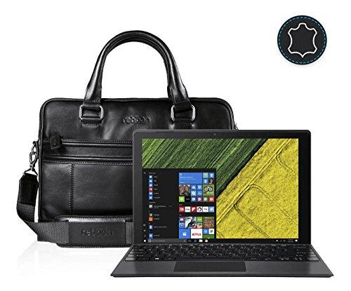 reboon Leder Laptoptasche für Damen/Herren passend für Acer Switch 5 | Schwarz