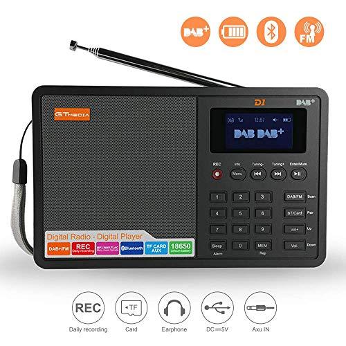 GTmedia D1 Dab/Dab + / FM Radio Digital Alarma Bluetooth Inalámbrico Portátil y Recargable con Sistema de Sonido de Altavoces Estéreo