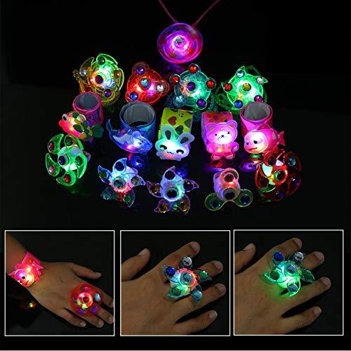 Herefun LED Blinkende Ringe LED-Leucht Spielzeug Finger Licht LED-Armbänder Leucht Halskette, Glow In The Dark Gastgeschenke Kindergeburtstag Halloween Karneval Partyartikel Zubehör (15Pcs)
