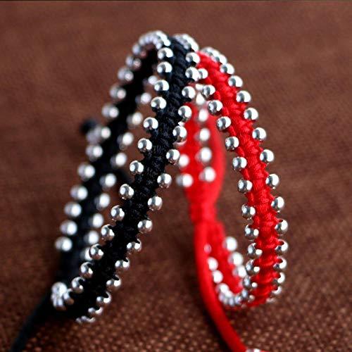 HNHM Pulsera roja de la Suerte de Plata de Ley 925, Regalo Hecho a Mano para Mujer, Brazalete con dijes-Rojo