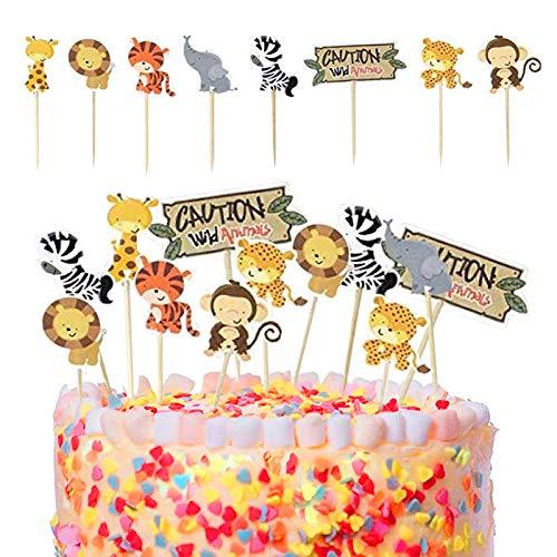 Sunshine smile Cupcake Topper Set,Adorno de Pastel de Bebe,Animal Cupcake Toppers,Cupcake Toppers Picks para niños cumpleaños,Animal Tema Party Decorations (24 Piezas)