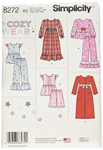 Simplicity patroon 8272 K5 kind 's en meisje 's nachtkleding en badjas patroon, wit, maten 7-8 - 10-12-14