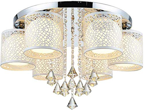 LED Luuml;ster Deckenlampe Modern Dimmbar RGB Kristall Deckenleuchte Hauml;ngelampe 6 flammig Deckenstrahler Kronleuchter E27 Innen Leuchter Direkt Beleuchtung fuuml;r Wohnzimmer Schlafzimmer Warmwei