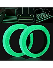[Twee rollen] 1 cm * 5 m + 2 cm * 5 m zelfklevende fluorescerende tape, glow-in-the-dark-tape zelfklevende reflecterende tape waarschuwingstape waterdichte lichtgevende tape