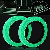 [Dos rollos] Cinta fluorescente autoadhesiva de 1 cm * 5 m + 2 cm * 5 m|cinta que brilla en la oscuridad|cinta reflectante autoadhesiva|cinta de advertencia|cinta luminosa impermeable