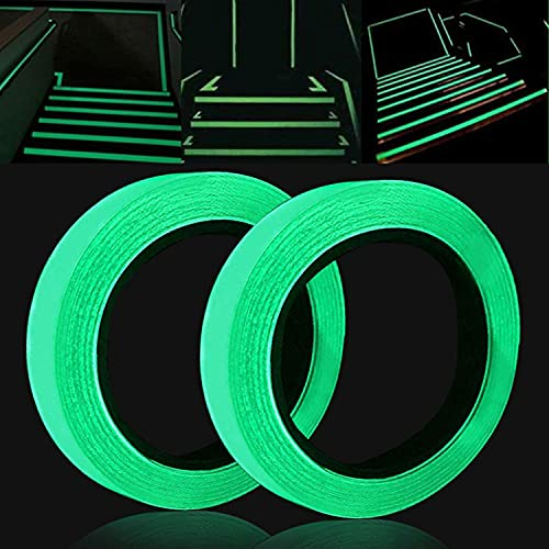 [Dos rollos] Cinta Adhesiva Luminosa,Verde Impermeable Pegatina de Cinta Fluorescente1 CM * 5 M + 2 CM * 5M,Pegatinas Fluorescentes,Cinta Fluorescente Adhesiva,Cinta Luminosa Adhesiva