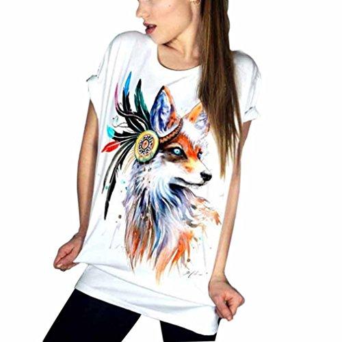 Vovotrade vrouwen zomer korte mouwen tops T-shirts grote maten Bohemia Fox Printing Chic T-shirts shirt T-shirt blouse vrouwen losse casual top T-shirts vrouwen wit T-shirts