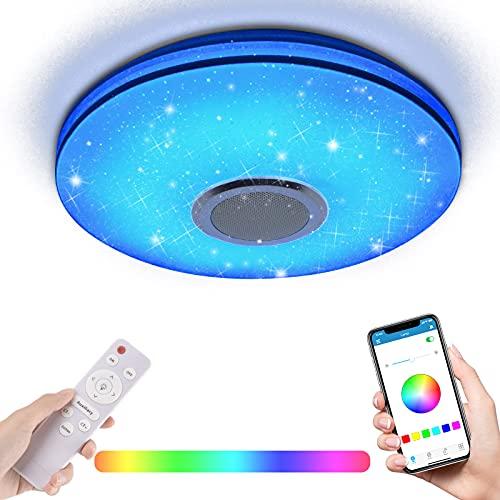 RLBUNZ 36W LED Deckenleuchte mit Bluetooth Lautsprecher, Fernbedienung oder APP-Steuerung, RGB Farbwechsel, 3400 Lumen Dimmbare Deckenleuchten für Wohnzimmer, Kinderzimmer, Schlafzimmer