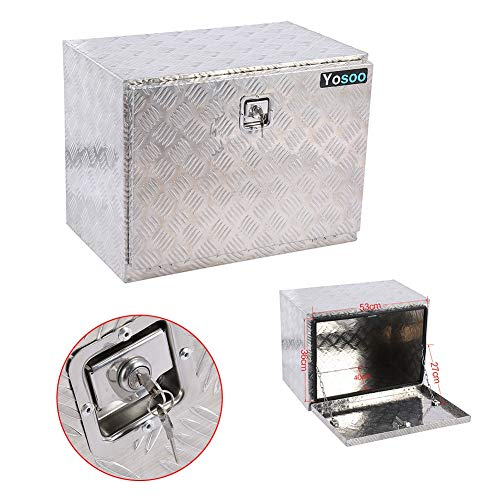 Werkzeugkiste, 24Zoll Alu Unterbaubox Alukiste Kiste Aluminiumbox Werkzeugbox Transportkiste Gurtkiste Staukaste mit Schlüsseln für Anhänger LKW Bus, 60 x 46,5 x 37,5 cm