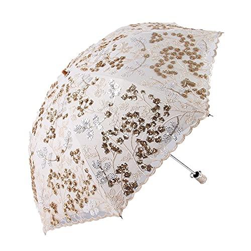 刺繍レース傘サンシェード折りたたみ傘サンの保護紫外線サンシェード傘 (Color : Dark Khaki)