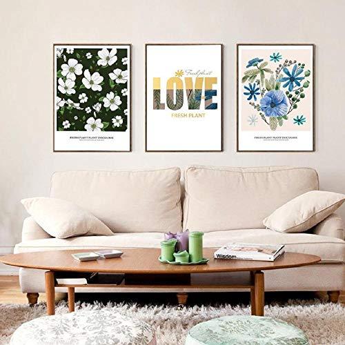 Canvas muurkunst met witte en paarse bloemen en planten, muurfoto's en posters, woonkamerdecoratie, 50 x 70 cm, zonder lijst