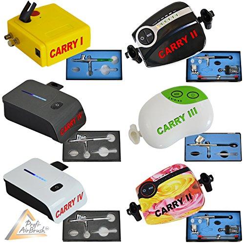 Airbrush Set Carry I - Airbrush Kompressor Set für Airbrush-Farben Airbrush Pistole Single Action 207D mit 0,3 mm Nadel/Düse, optimal Airbrush-Kit für alle Anfänger zum Einführungspreis!