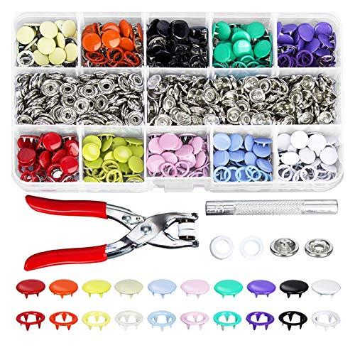 BINCIBH Conjunto De Botones,Maquina 200 unids 9.5mm 10 Colores Metal Botón Snap Button Sujetadores Kit con...