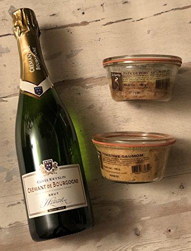 Noël: Coffret Gourmand: 2 terrines Et une bouteille de Crémant de Bourgogne