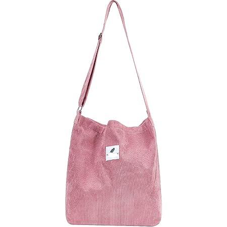 Funtlend Groß Umhängetasche Damen Cord Tasche aus Kord Handtasche Shopper Damen für Uni Arbeit Mädchen Schule
