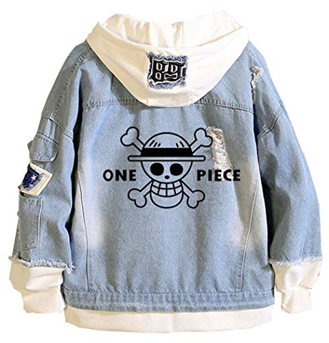 WANHONGYUE Anime One Piece Luffy Zoro Hoodie Denim Jacket Unisex Cosplay Jeansjacke Outwear Mäntel Blue 1 M