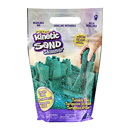 Kinetic Sand, Twinkly Teal 2lb Bag of All-Natural Shimmering Play Sand for Squishing, Mixing and Molding, Sensory Toys for Kids Ages 3 and up (Sand Shimmer)
