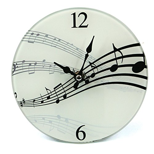 Ginger Interiors Orologio da Parete/Tavolo – Music Design Glass Clock (142 – 581)