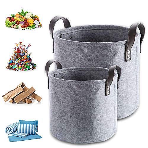 2 Stück Filztaschen für Kaminholz Einkaufstasche Filzkorb Holzkorb aus Filz Faltbar Kaminholztasche Einkaufskorb (dunkelgrau)
