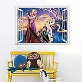Princesse Blanc Cheval Stickers Muraux Pour Enfants Filles Chambre Reine Neige Anna...