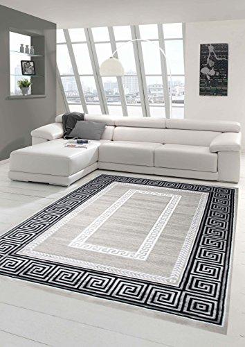 Designer Teppich Moderner Teppich Wohnzimmer Teppich mit Ornament Bordüre Grau Cream Schwarz Größe 80x150 cm