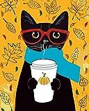 YUHHGFK Pintar por Numeros Gato Animal Negro Pintura al óleo de Bricolaje con Pinceles y Pinturas - para Adultos, niños y Principiantes Decoración del hogar - 40 X 50 cm (Sin Marco)