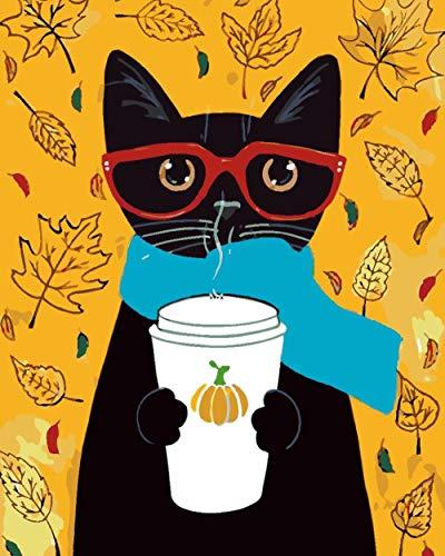 Iejsgfj DIY ölgemälde Malen nach Zahlen Katze mit Brille Malen nach Zahlen Kits DIY Kein Rahmen Gemälde durch Geschenk für Erwachsene Kinder Vorgedruckt Leinwand Home Haus Dekor