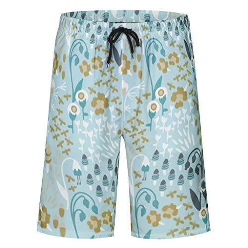 XHJQ8 Mens Zwembroek Plant, Groen, Bloem, Gras, bomen, Vogelpatronen afdrukken Surfen Polyester - Gras Shorts met Zakken