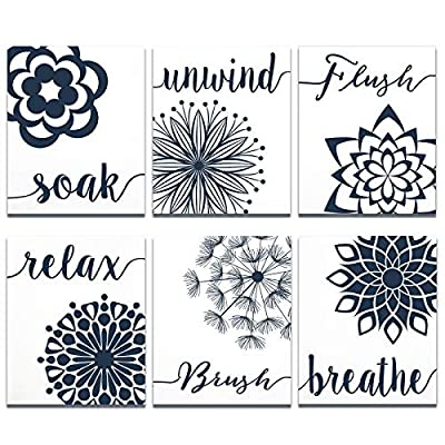 6 Pieces Relax Soak Unwind Breathe Wall Decor Bathroom Flowers Art Print, Farmhouse Wall Sign Relaxing Sayings Decoration for Bathroom Spa, 8 x 10 Inch (Blue and White)