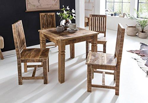 KADIMA Design Rustikaler Kleiner Designer Esszimmertisch Braun 80 x 80 x 76 cm Mango Massivholz im Landhaus - Stil Esstisch Massiv Tisch für Esszimmer Quadratisch Küchentisch für 4 Personen Holztisch