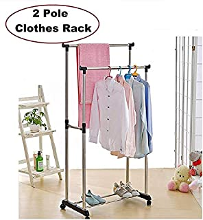 Vruta Premium Double-Pole Clothes Hanger - Rack, Rolling Bar Rail Rack - Adjustable and Portable Clothes Hanger for Clothes/Shoes - Laundry Rack Hanger/Dress Drying Stand