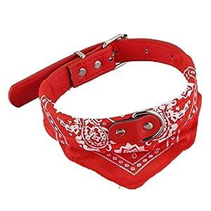 Naliovker 2cm de Largeur Motif de Paisley Collier Bandana Foulard pour Chien Animal de Compagnie Rouge