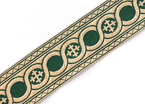 21/4' Wide Forrest Green Gold Jacquard Vestment Trim Cross Celtic Scroll 3 Yds