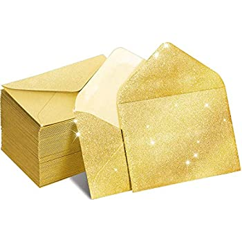 400 Packs Mini Kraft Paper Envelopes Gift Card Envelope Sleeve for Small Gift Cards Invitations Business Notes Tiny Mini Greeting Cards 4 x 2.75 inches (Gold)