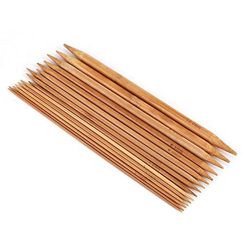 75Pcs Set di ferri da maglia a doppia punta Set di ferri da maglia in bambù per fai da te fatti a mano 15 dimensioni da 2mm a 10mm